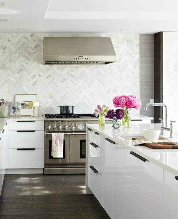 kitchens - marble chevron herringbone pattern backsplash glossy white  lacquer modern kitchen cabinets white quartz countertops