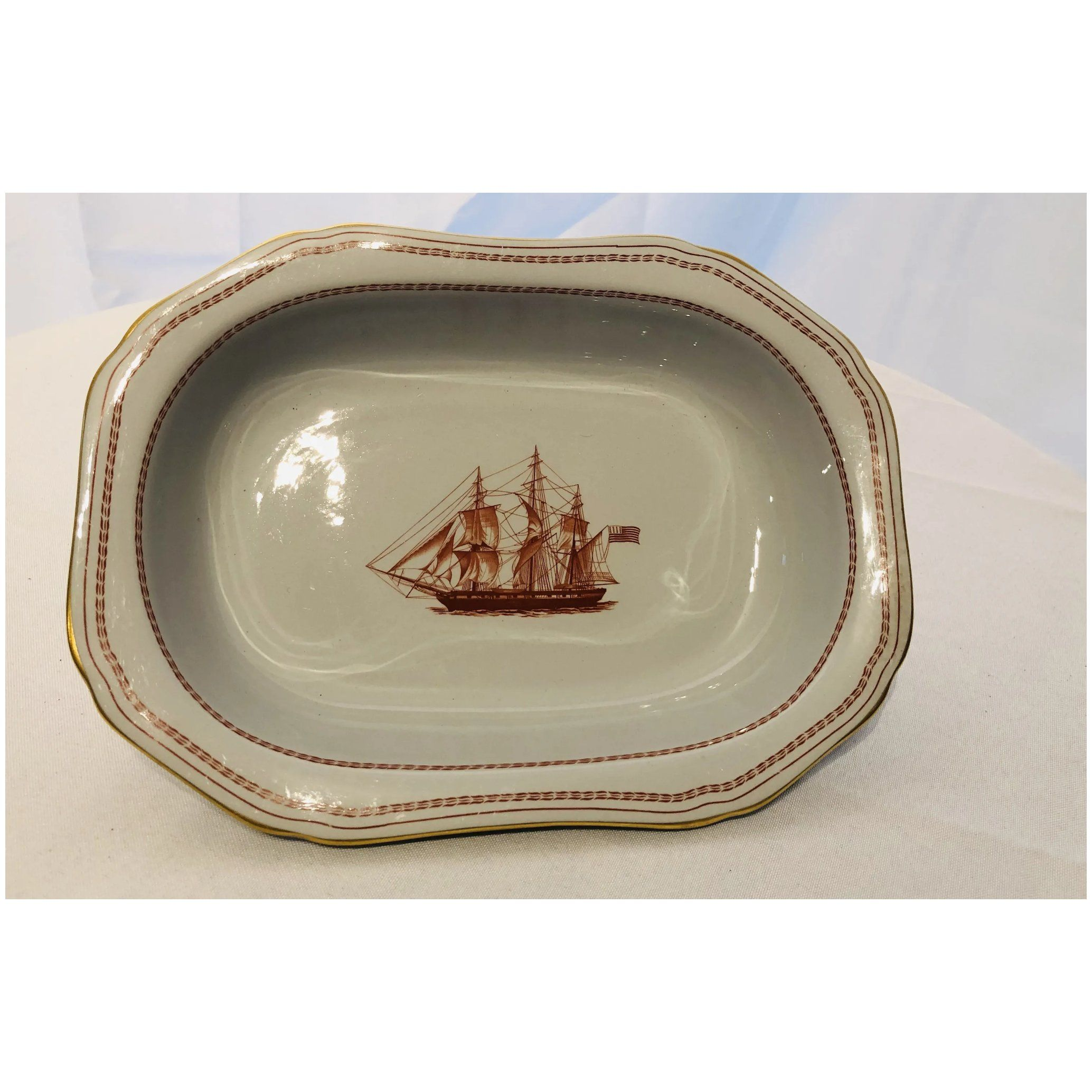 Spode Trade Winds Red (Gold Trim) Large Oval Bowl Ships