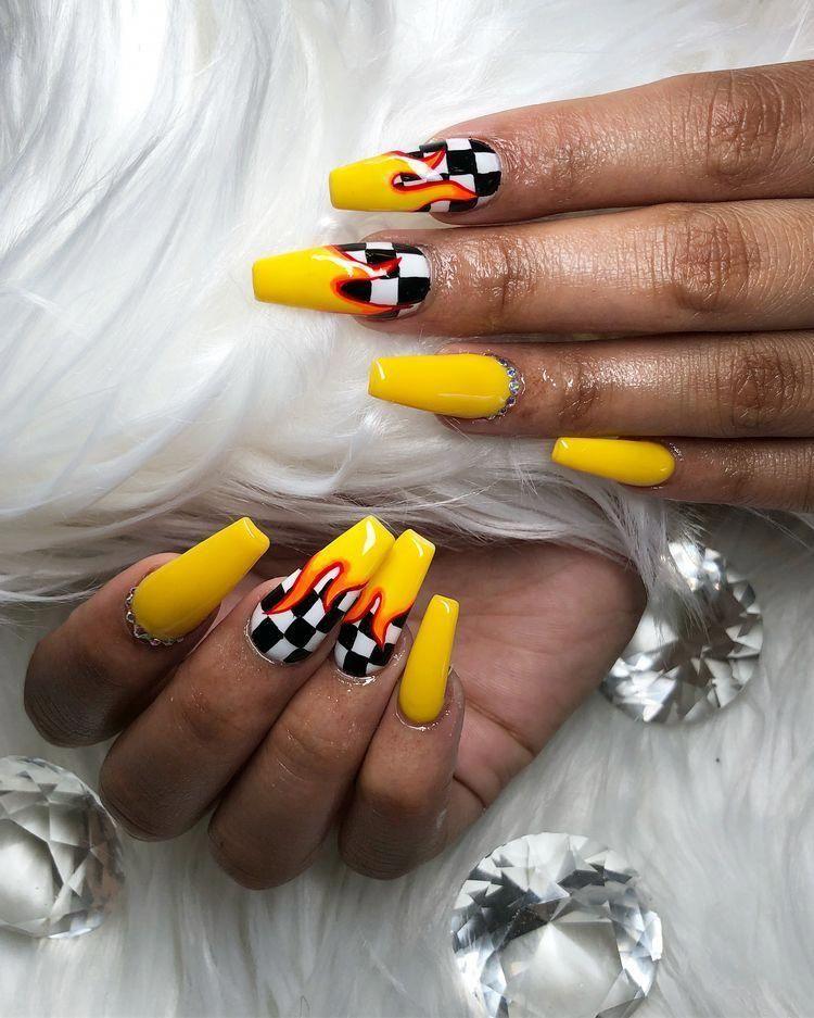 Yellow Checkered Flames Coffin Nails Nailscoffin In 2020 Checkered Nails Acrylic Nail Shapes Best Acrylic Nails