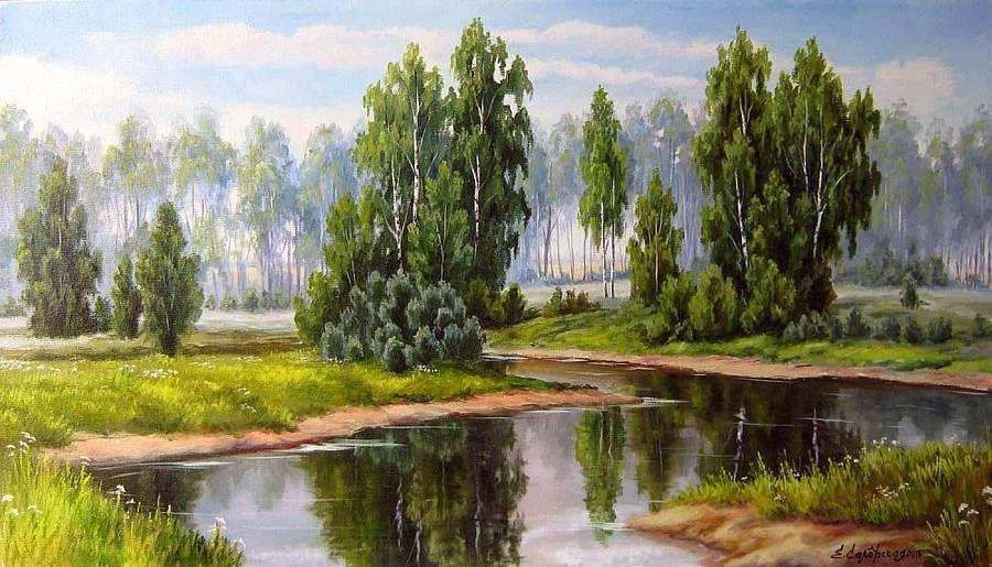 пейзажи средней полосы россии рисунки грустить