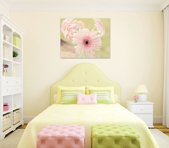 flower canvas girls room decor pink gerber daisy large wall art girl ...
