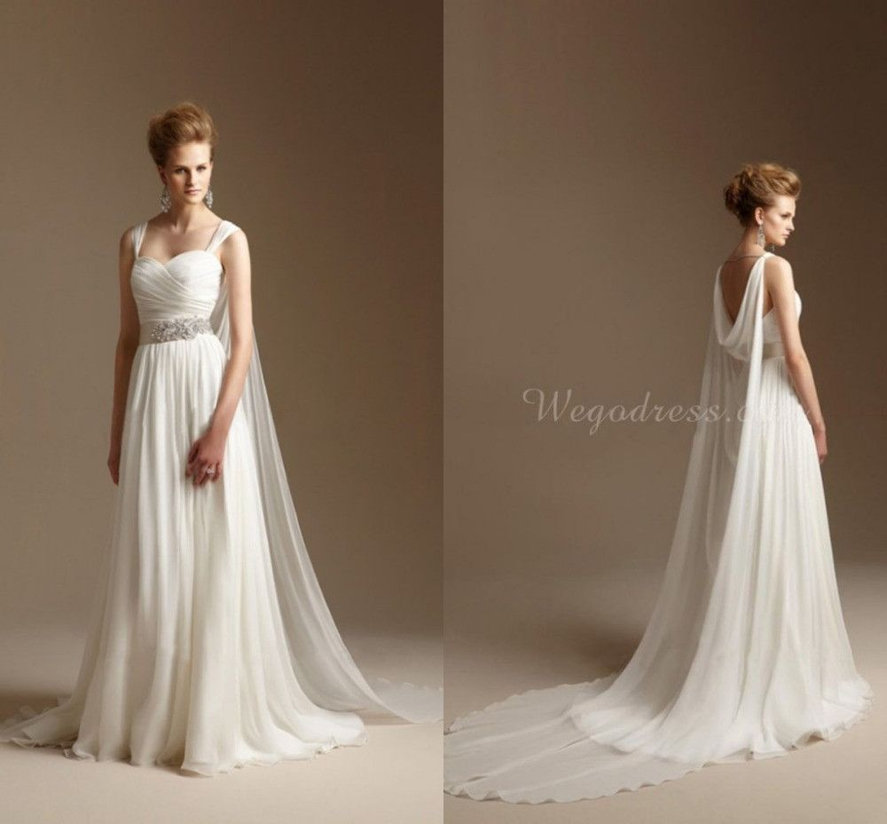 Grecian Style Wedding Dress with Watteau Train Long Chiffon Summer