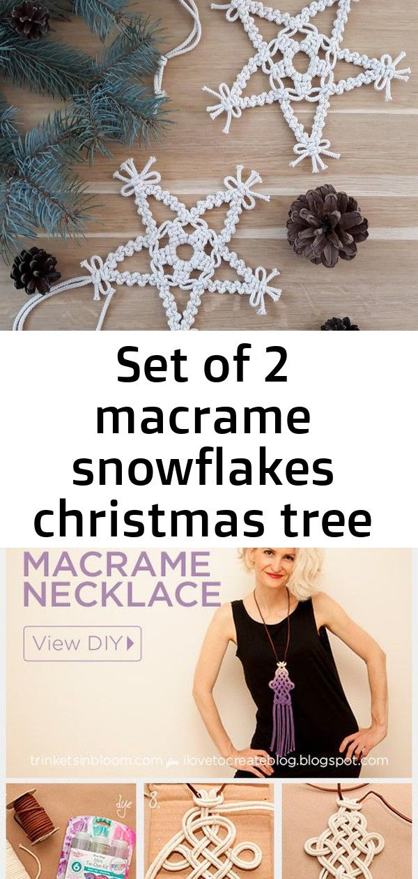 Set of 2 macrame snowflakes christmas tree ornaments boho eco home xmas ideas winter wall decoration #hangersnowflake