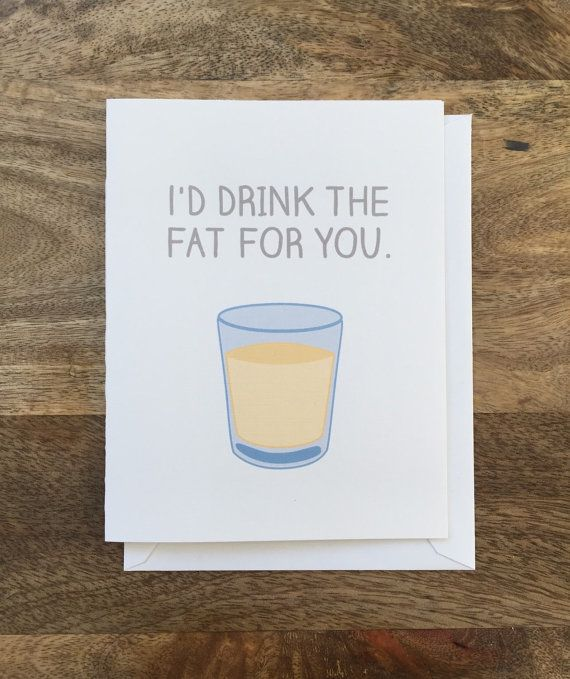 Friends TV show Drink the Fat card by perksofaurora on Etsy