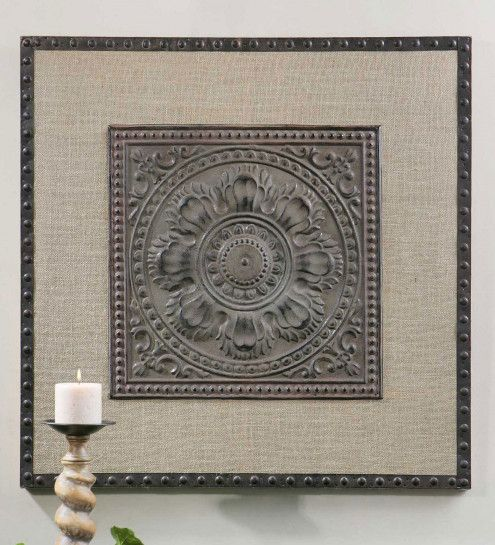 Filandari Stamped Metal Tile And Burlap Wall Art