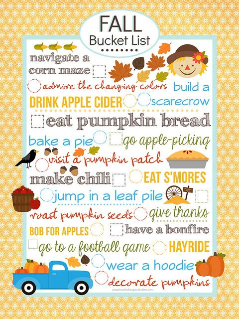 {FREE} Fall Bucket List Printable (8x10) #fallseason