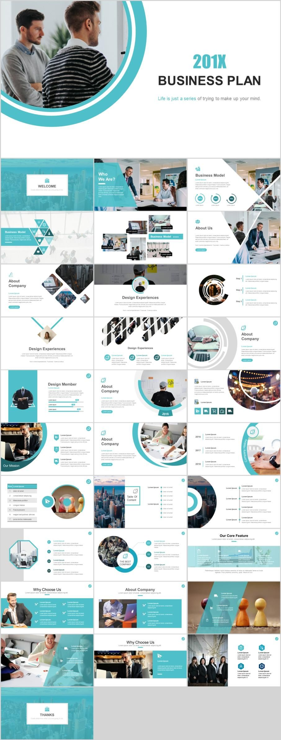 32 business plan blue powerpoint template パワポ参考 pinterest