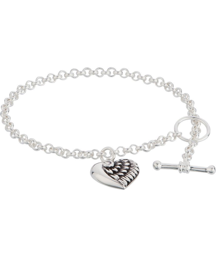 961080e1a ... store buy sterling silver t bar bracelet with wing heart charm at argos .co.