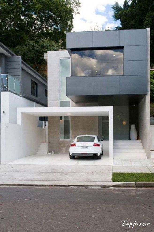 Stunning Facades Of Small Houses Design With Elegant Garage In Terrace Along With Wide Glass Window Corner B With Images Carport Designs Modern Carport Modern House Design