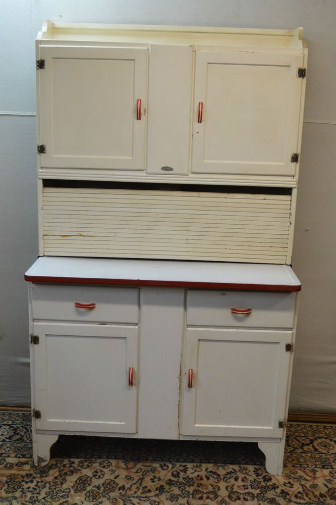 Antique Original 1920's Hoosier Cabinet with Flour Sifter Porcelain Top  Vintage - Antique Original 1920's Hoosier Cabinet With Flour Sifter Porcelain