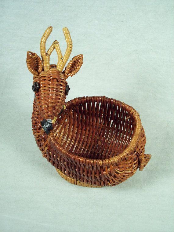 Cute Avon Reindeer Wicker Basket from the 1980s, Christmas