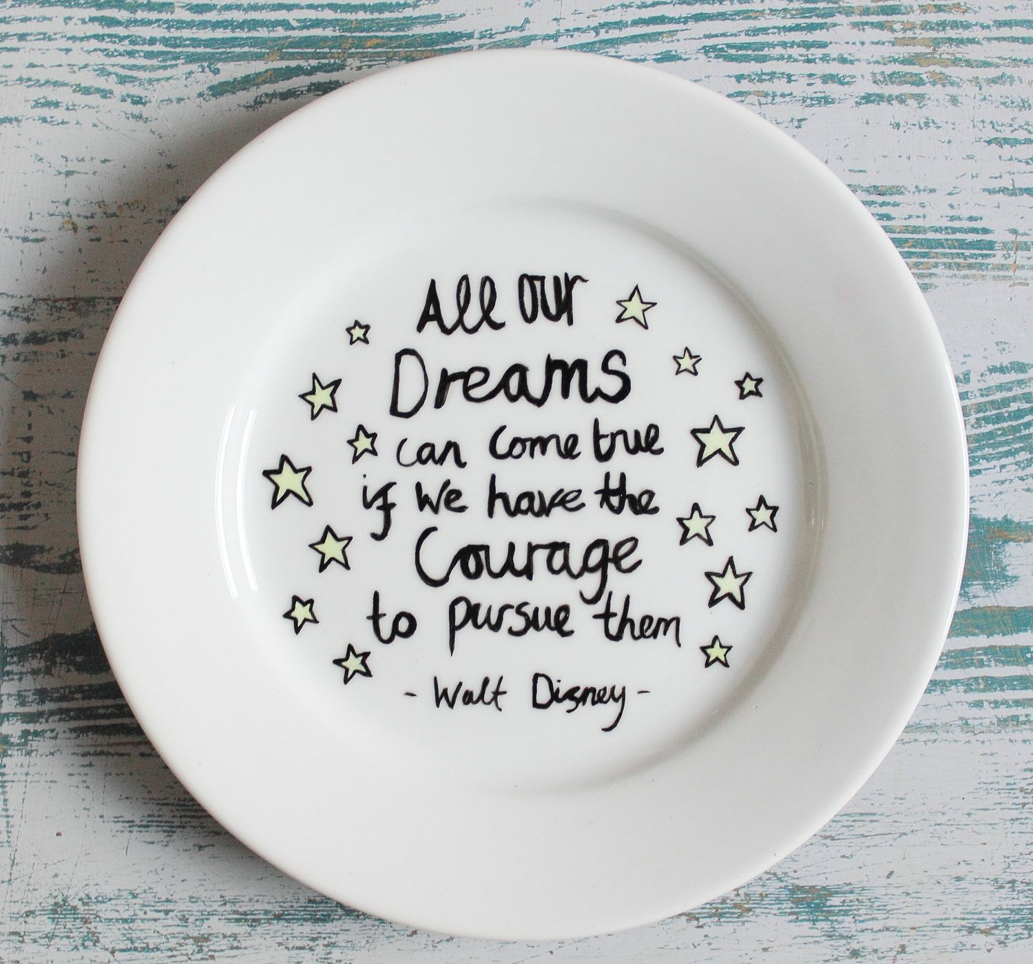 Hand Painted Side Plate with Inspirational Walt Disney Quote and Stars via Etsy.