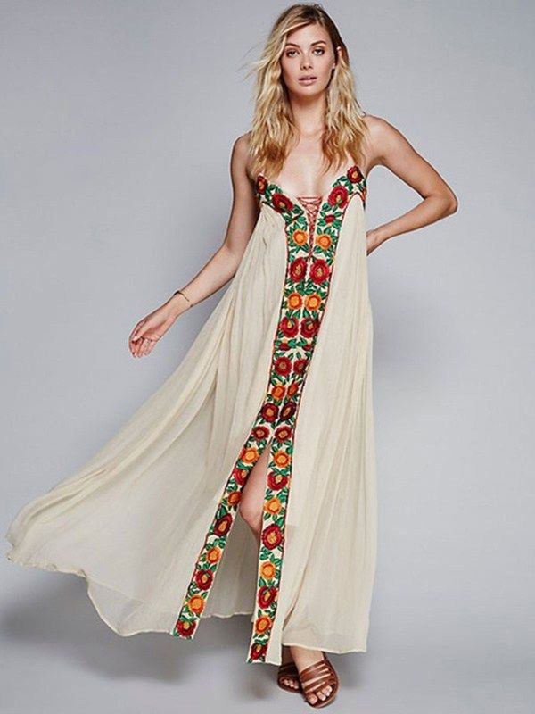 Spaghetti Straps Flowers Embroidered Chiffon Maxi Dress