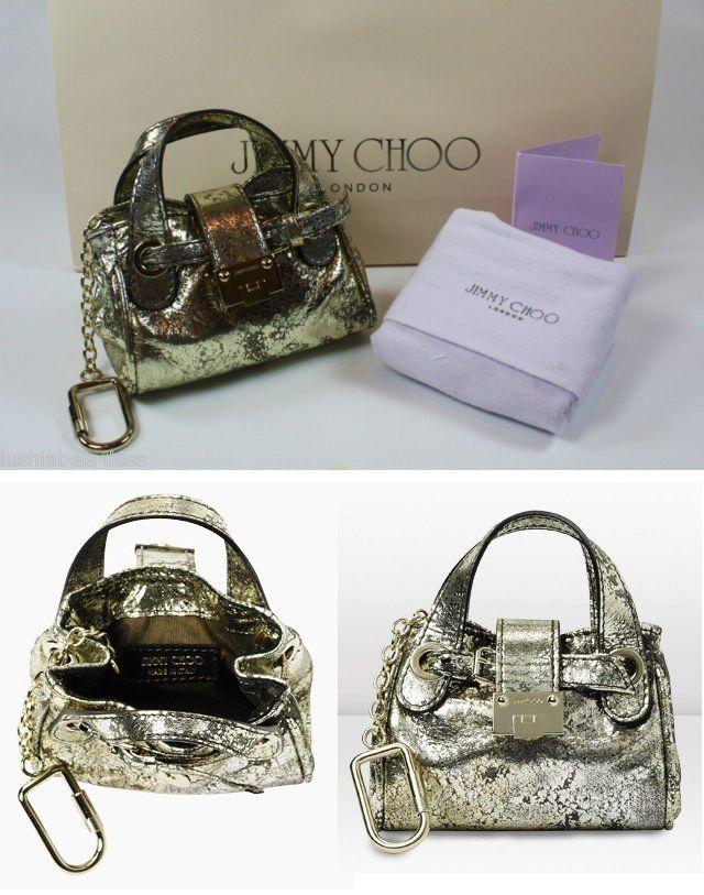 Miniature Silver Jimmy Choo Ramona Handbag Keychain Charm