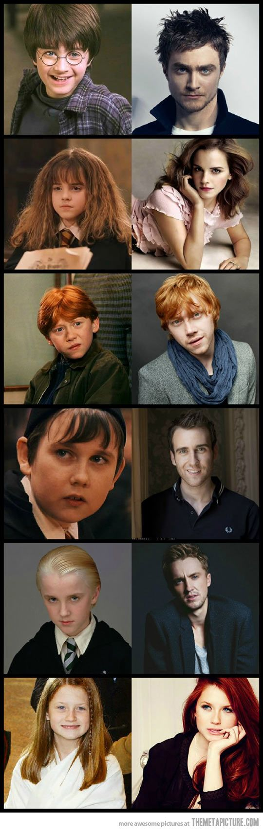 Harry Potter Then And Now There S Magic Involved Here Unluler Harry Potter Capsleri Harry Potter Filmleri