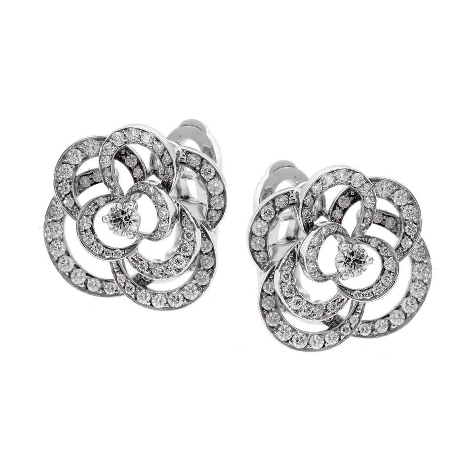 Chanel Camellia Diamond Earrings 1 Chanel Camellia Chanel Jewelry Earrings Chanel Camellia Flower