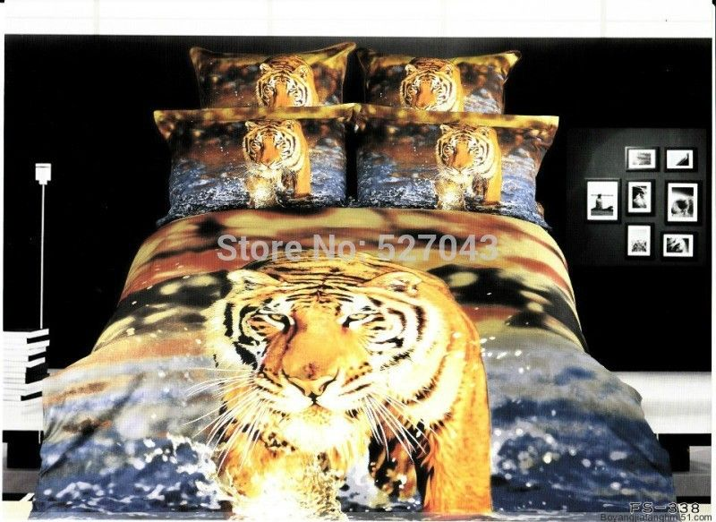 Tiger Animal 3D Oil Painting Print Bedding Sets Bed sets Duvet Covers bedspreads Full Queen Size,PDN-15