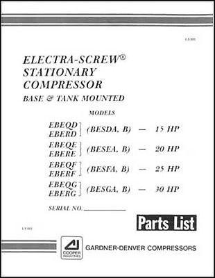 Gardner Denver Electra Screw Air Compressor Parts Manual For