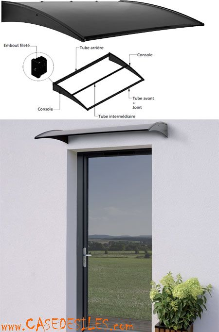 Auvent de porte fenêtre en aluminium et matériaux composite  Canopy - Porte D Entree En Pvc Prix