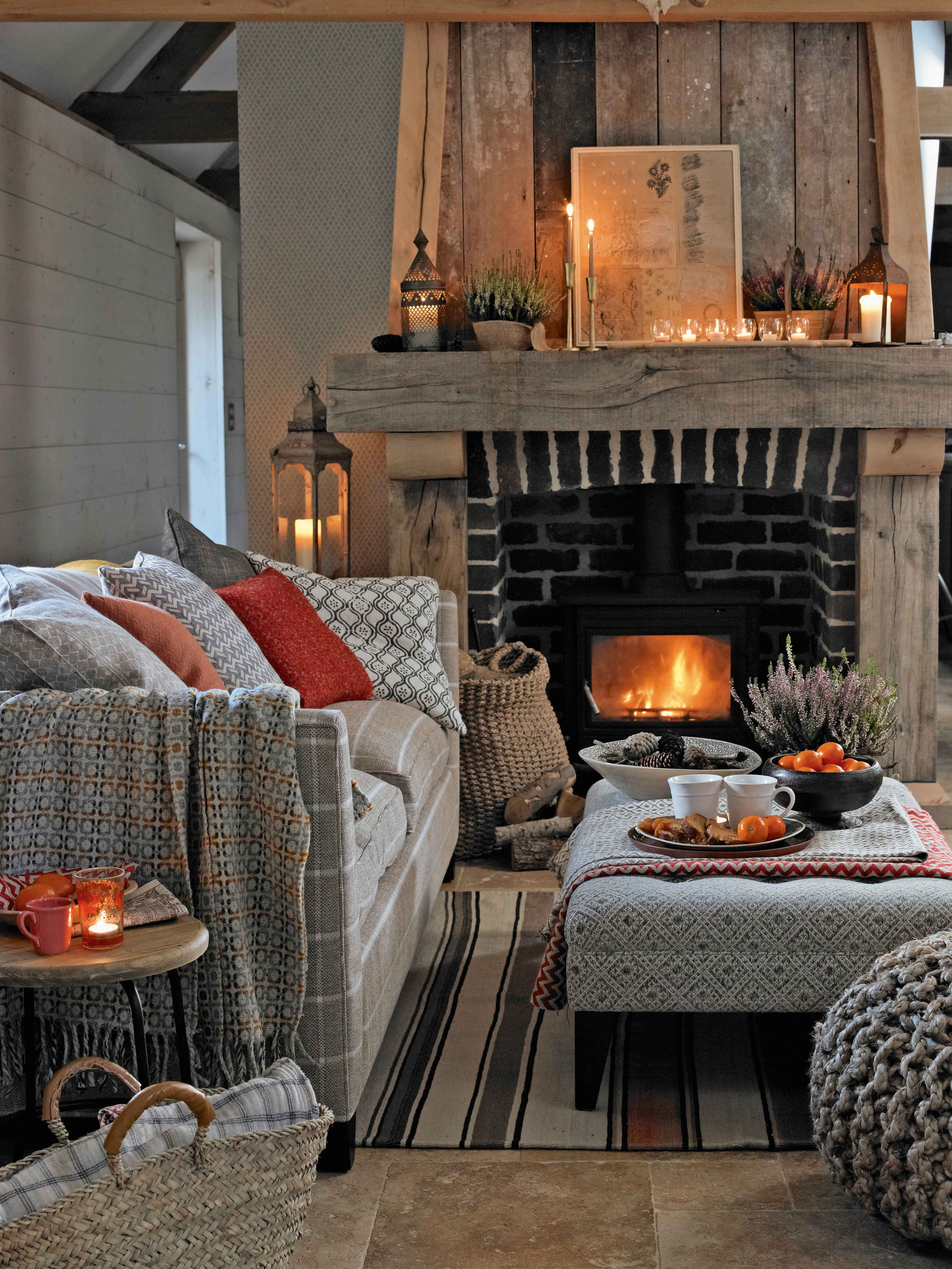 Autumn Living Room Decorating: For A Casual, Comfy Feel, Choose Cushions And A Footstool