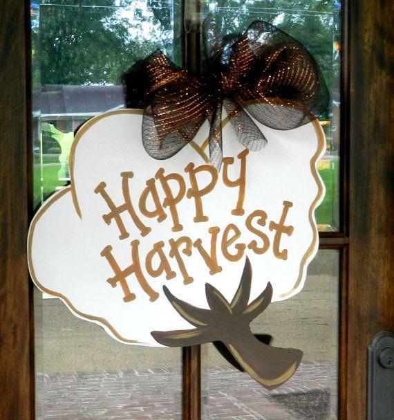 Perfect for fall decor!!!  XL Happy Harvest Cotton Boll Door Hanger! Repins are appreciated!