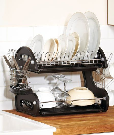 Dish Drying Rack Walmart 2Tier Deluxe Dish Drainers  Dish Drainers Trays And Dishes