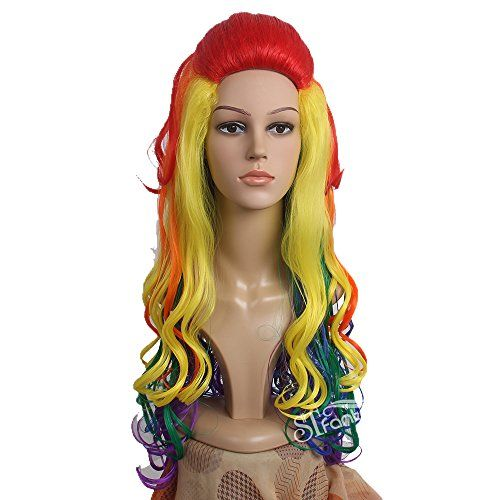 STfantasy Long Wavy Rainbow Wig For Women FREE WIG CAPParty - Hairstyle for color run