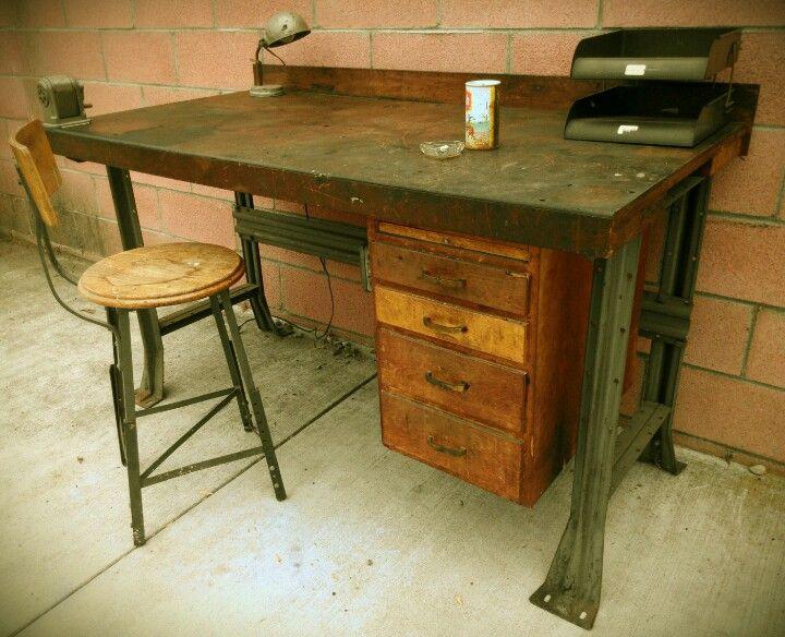 Vintage industrial desk / workbench - Vintage Industrial Desk / Workbench Mmd Antiques Pinterest