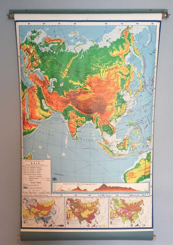 Vintage Pull Down School Map of Asia | Products | Asia map ...