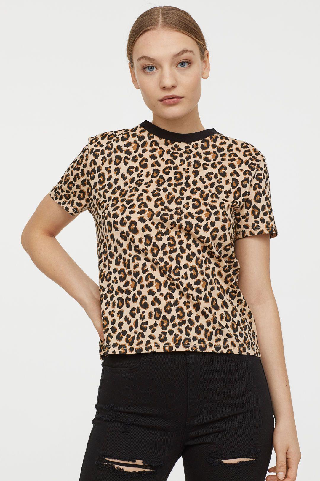 Cotton T Shirt Light Beige Leopard Print Ladies H M Us Short Sleeve Tops Women Short Sleeve Shirt Women Affordable Womens Tops [ 1620 x 1080 Pixel ]