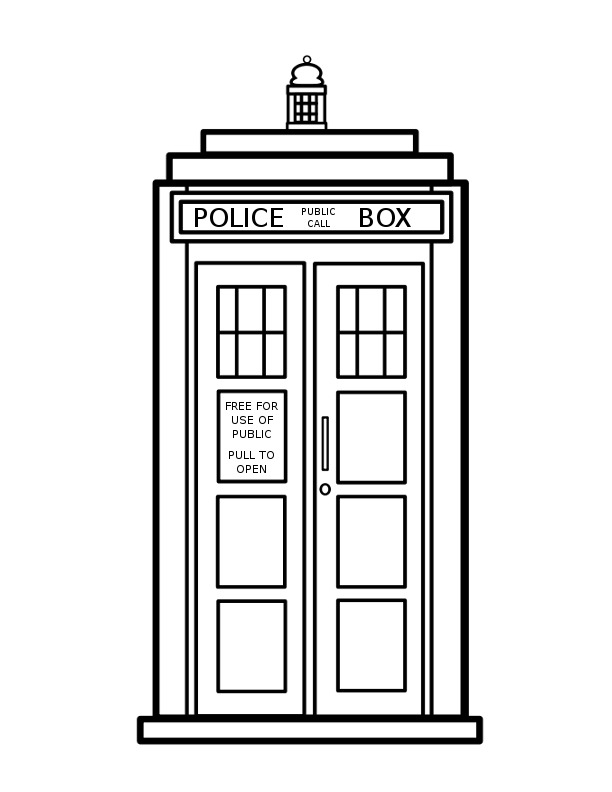 TARDIS  Colouring Coloring Page Doctor Who by VioletSuccubus on