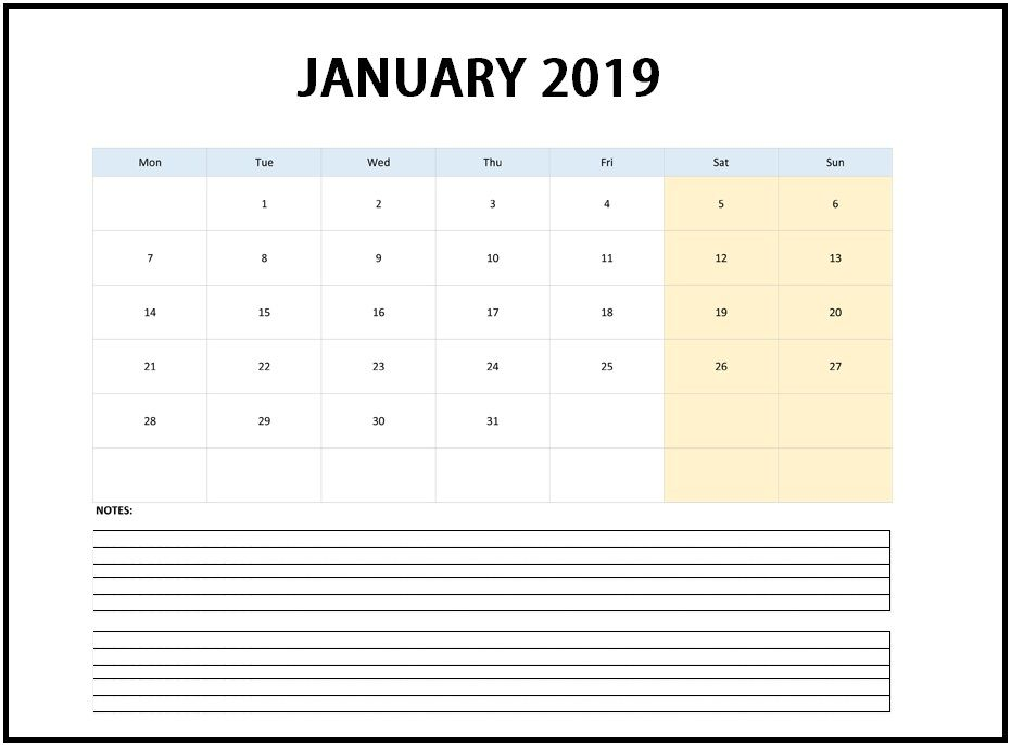 Edit January 2019 Online Calendar Template #January2019