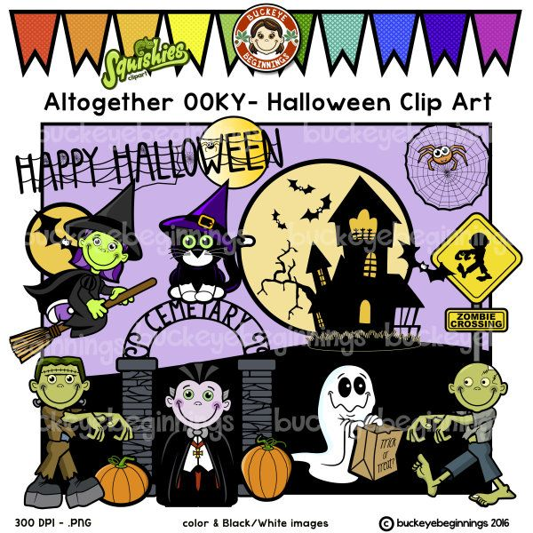 this adorable altogether ooky halloween clip art set from the addams family song contains 34 files which includes 16 color images and 18 black and white - Halloween Art For Kindergarten