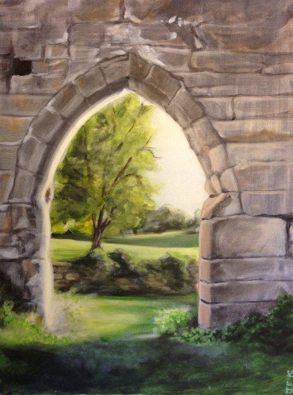 Original Acrylic Landscape Painting Rustic Wall Stone Field Art 14 X18