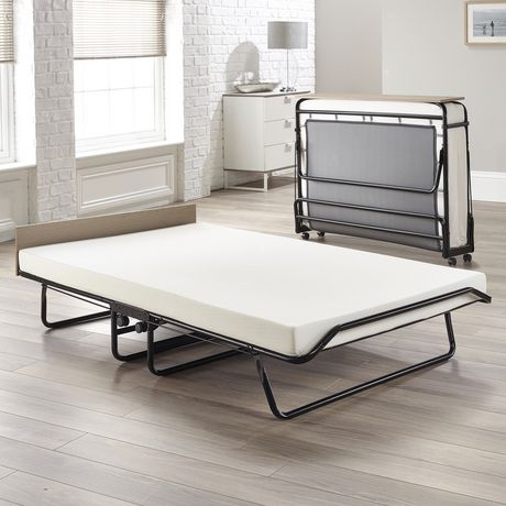 Jay Be Supreme Automatic Folding Bed With Memory Foam Mattress Black Full Double Products In 2019 Folding Guest Bed Folding Beds Foam Mattress