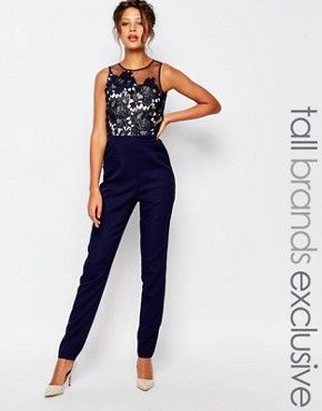 92eaa1c04fe Little Mistress Tall Scallop Lace Tailored Jumpsuit With Floral Embroidery