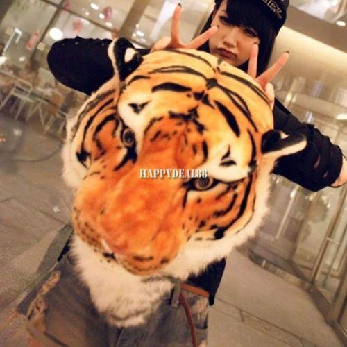 New-Women-Men-Animal-Style-Lifelike-3D-Tiger-Head-Bag-Knapsack-Backpack-Unisex