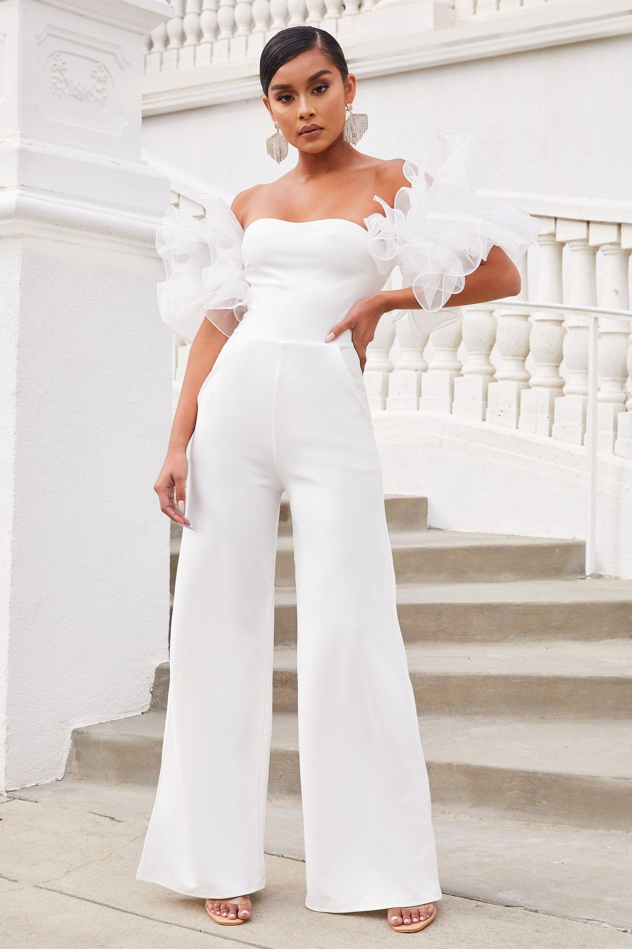 Club L London organza sleeve jumpsuit in white