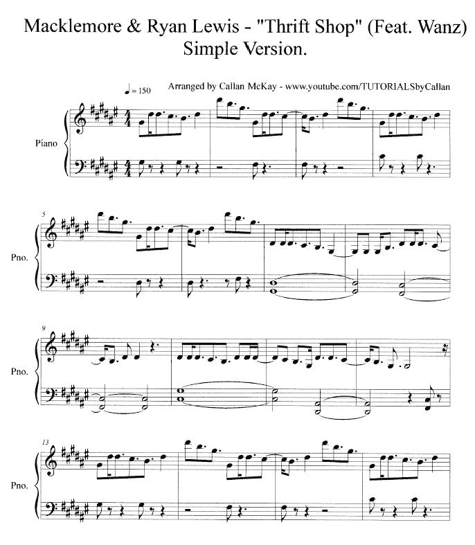 All Music Chords pink panther clarinet sheet music : Thrift Shop Alto Sax Sheet Music | Thrift Shop - Macklemore & Ryan ...