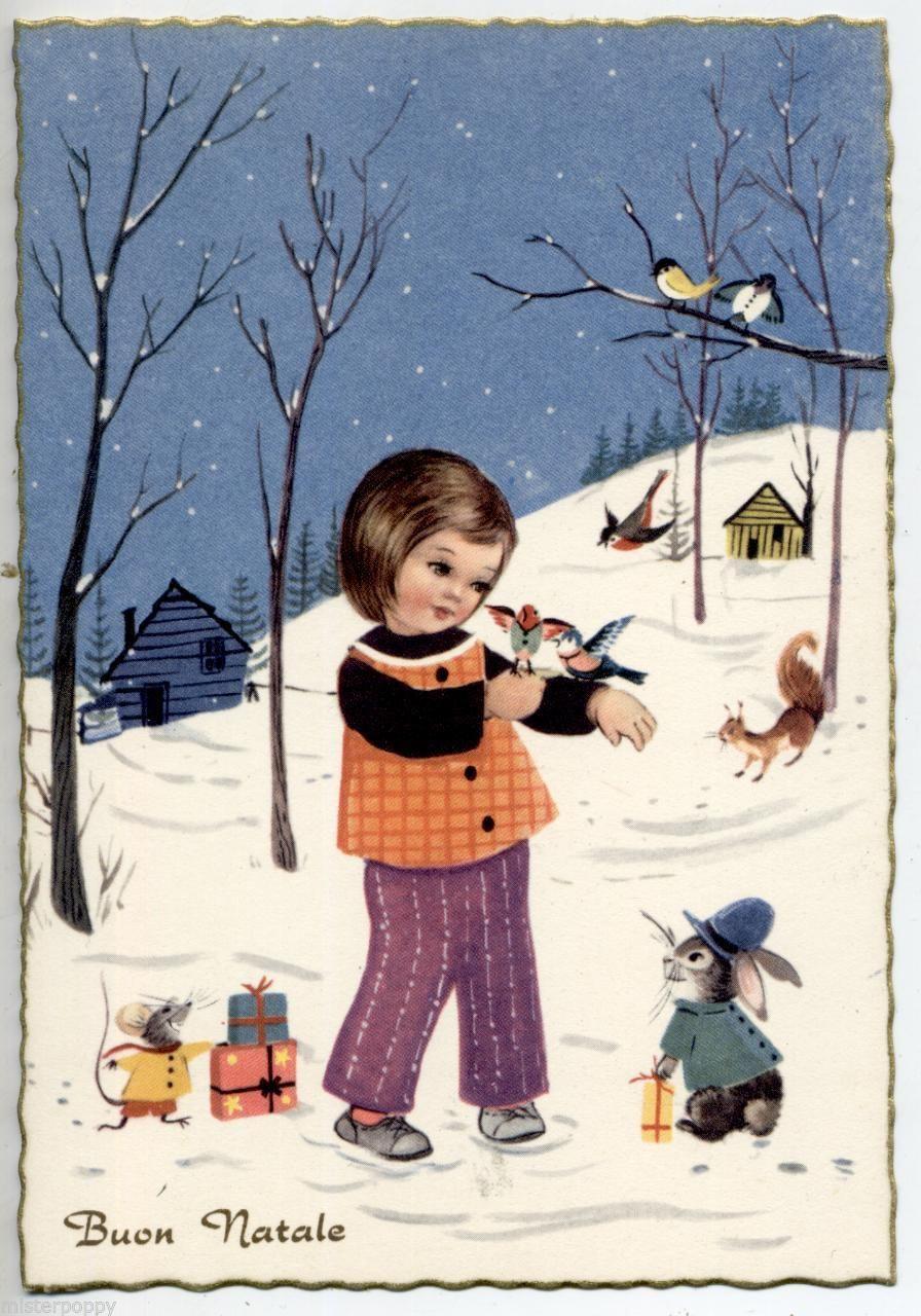 Deliziosa Bimbetta con Animali Umanizzati Coniglio Uccelli Vintage PC Circa 1950   eBay