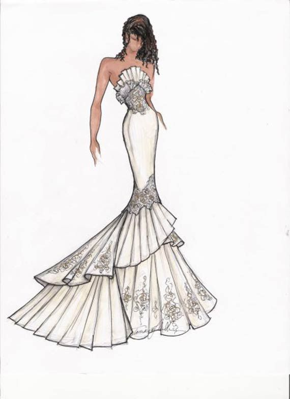 New Stylish Bridal Gown Sketch | Fashion Illustration | Pinterest ...