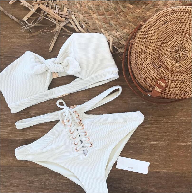 9a09ad75d40ce Front Bowknot Bandage Hollow Out Bikini Set – Lupsona. Strapless High Waist  ...