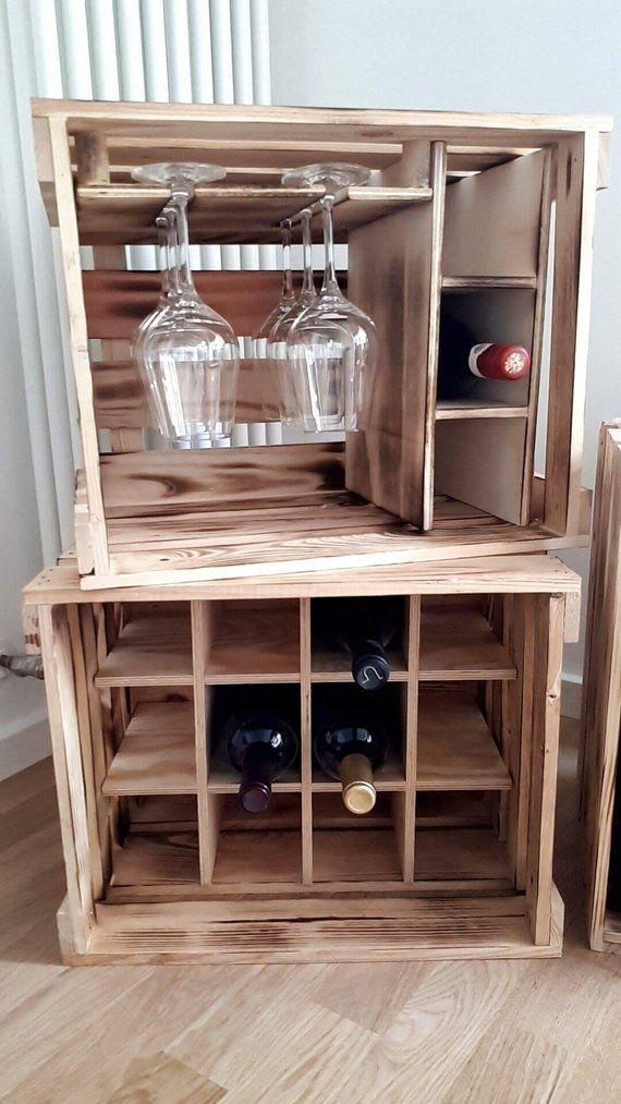 Photo of Weinkisten, Weinregal, Holzkiste, Regal, Hausbar, Weinpräsent, Küchenregal, Regal, Dekoration, Vintage, WineRack,Shelf