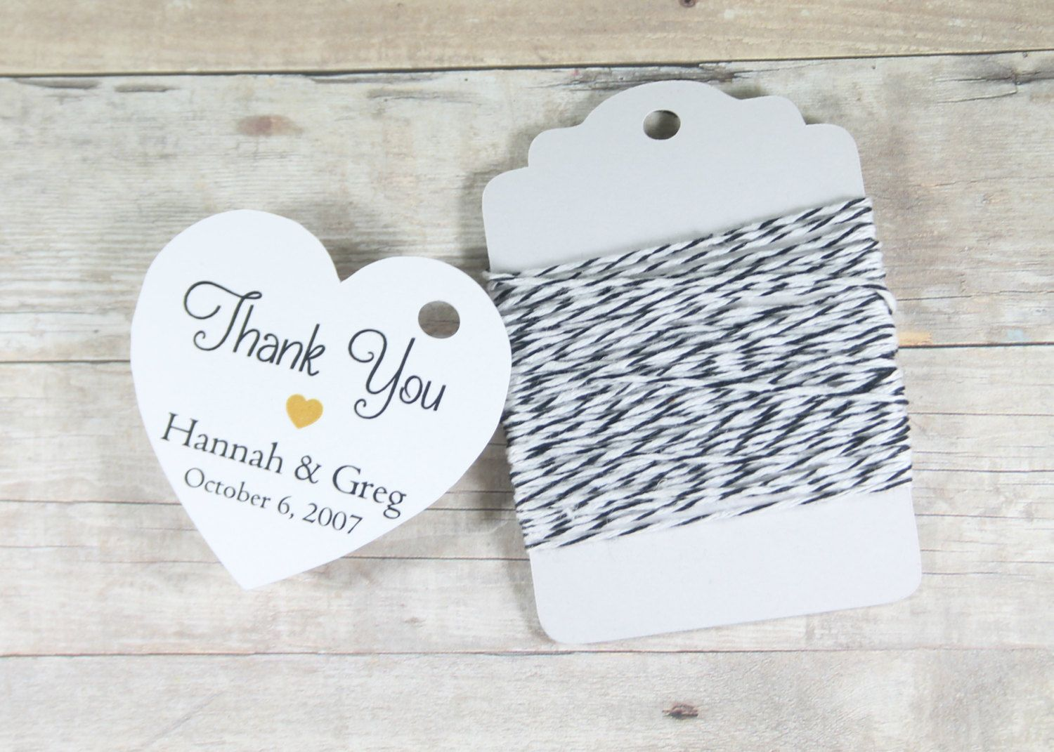 Personalized Wedding Tags Set of 20 - White Heart Tag - Bridal ...
