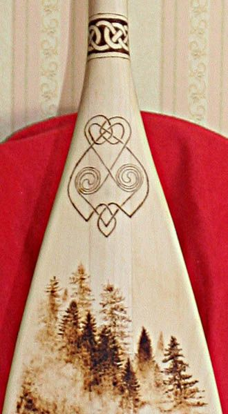 Pyrographed canoe paddle for Canoe paddle tattoo
