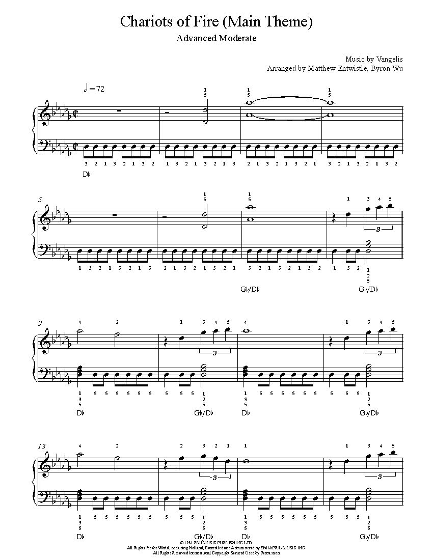 Free sheet music for fathers whiskers childrens song enjoy chariots of fire main theme by vangelis piano sheet music advanced level hexwebz Gallery