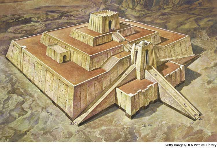 ziggurat a temple tower of ancient mesopotamia having the form of