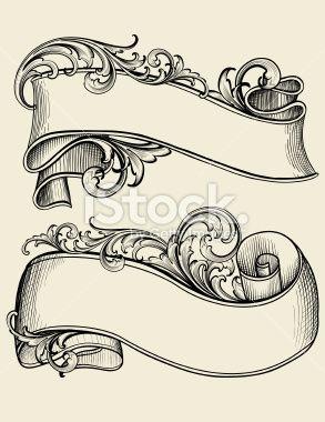 Scroll ribbon banner tattoo
