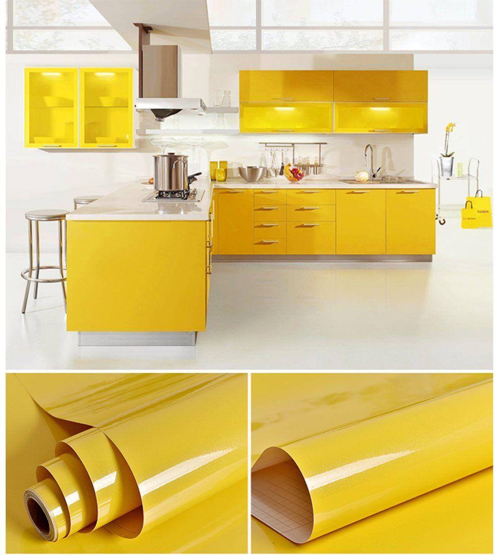 Creative Covering Self Adhesive Vinyl Shelf And Drawer Liner Glossy Yellow Contact Paper For Armarios De Cozinha Antigos Cozinhas Domesticas Decoracao Cozinha