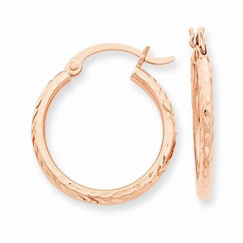 17mm 14k Yellow Gold Diamond-Cut 3.5mm Hollow Round Tube Hoop Earrings